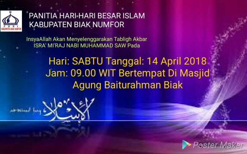 tablig akbar isra miraj di masjid baiturrahman biak besok