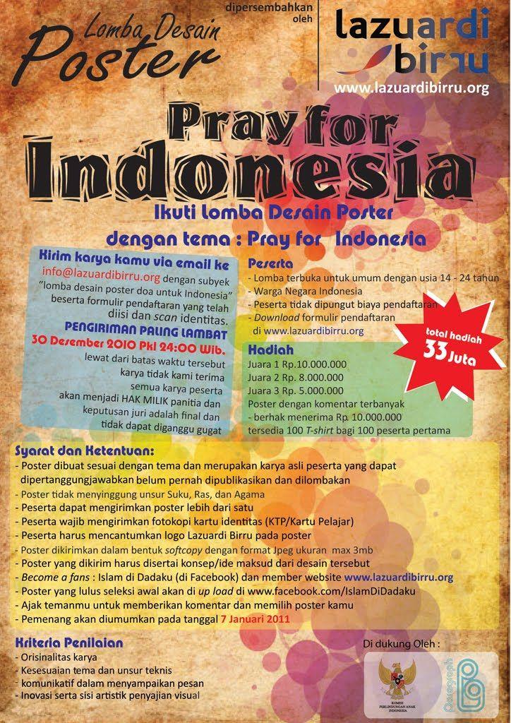 ikuti lomba desain poster pray for indonesia