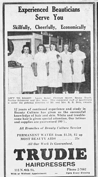 Poster Aids Berguna File 1940 Trudie Hairdressers 31 Jan Mc Allentown Pa Jpg