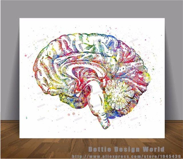 poster alam sekitar bernilai cetak kanvas lukisan cat air medis anatomi otak manusia wall art