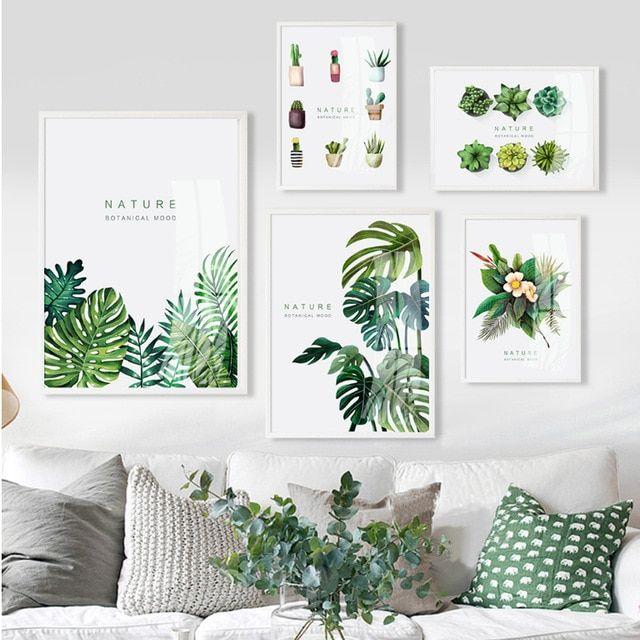 nordic tanaman alam lukisan kanvas bunga cat air poster dan cetakan dinding seni gambar untuk ruang