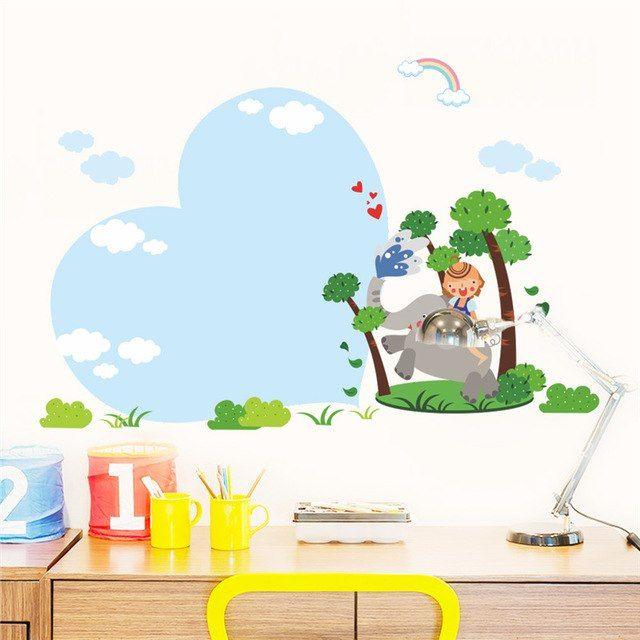 Poster Anak Baik Hewan Hutan Gajah Happy Anak Langit Cinta Pohon Anak Anak Poster