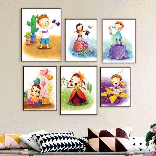 kartun gadis dan anak laki laki kanvas lukisan poster untuk anak anak bayi room