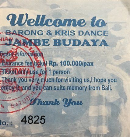 Poster Budaya Indonesia Penting 100 K Rp Show Ticket Picture Of Barong Kris Dance Sukawati