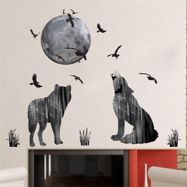 Poster Hewan Baik Bulan Hutan Serigala Stiker Dinding Pvc Bahan Burung Hutan Diy Hewan