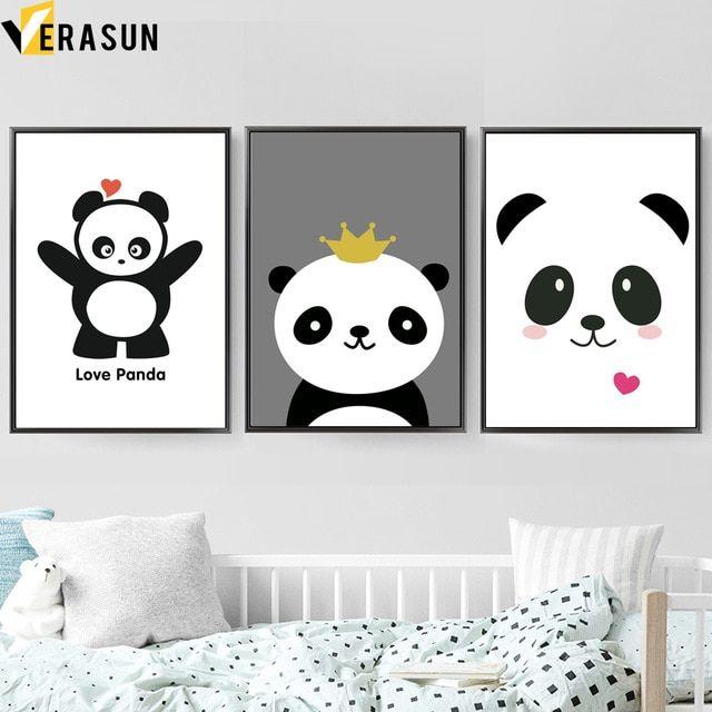 kartun cinta panda kutipan dinding seni lukisan kanvas nordic poster dan cetakan kanvas seni hewan dinding