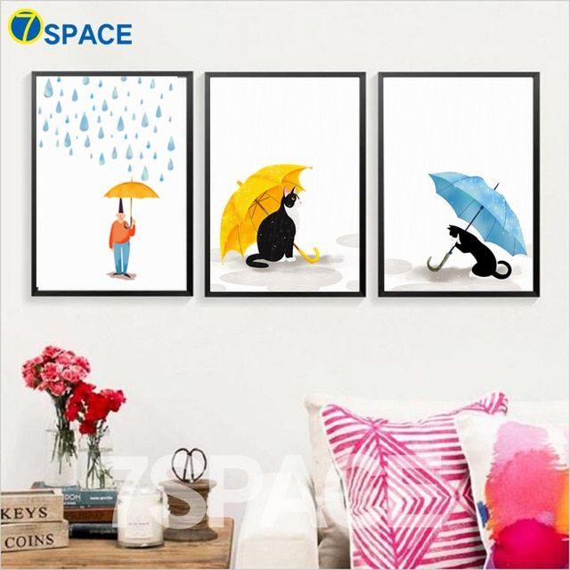 kartun kucing anak payung dinding seni lukisan kanvas poster dan cetakan nordic poster hewan dinding gambar