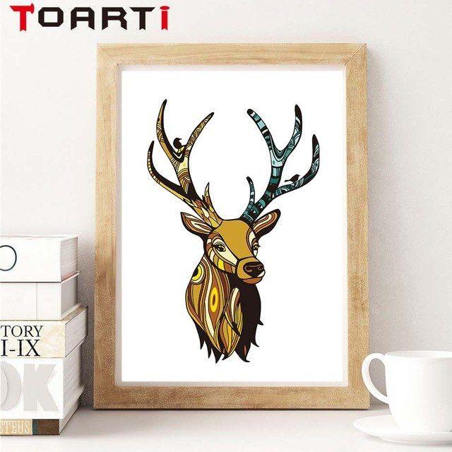 modern cat air kepala rusa hewan kanvas seni lukisan poster dan mencetak dinding gambar seni untuk