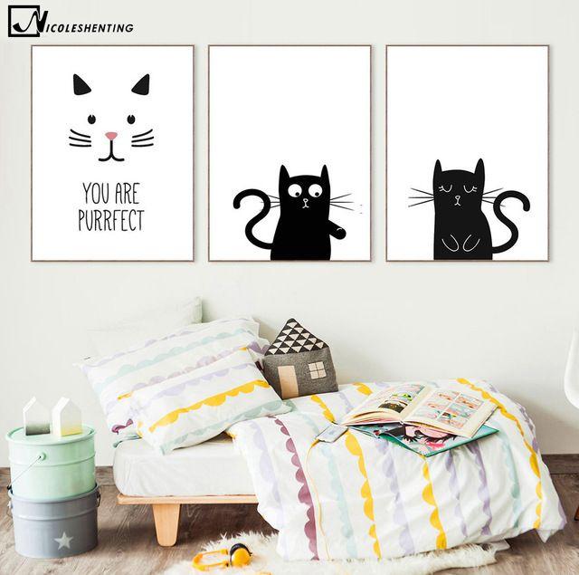 kawaii hewan kucing seni minimalis kanvas dinding gambar poster lukisan kartun hitam putih print rumah anak