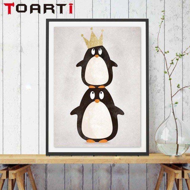Poster Hewan Power Modern nordic Kartun Hewan Mahkota Penguin Seni Cetak Poster Dinding