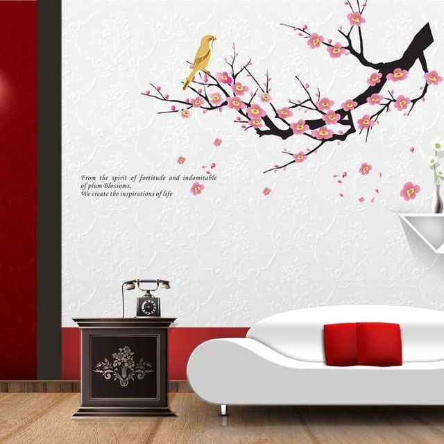 Poster Ilmiah Terbaik Aliexpress Com Beli Plum Blossom Wintersweet Wall Sticker Untuk