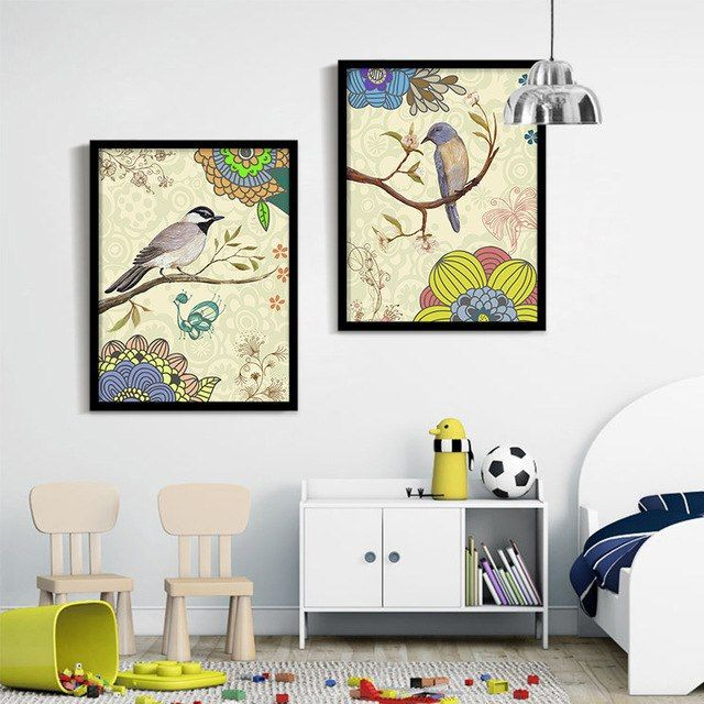 Poster Kreatif Menarik Indah Burung Lukisan Dekoratif Lukisan Modern Dinding Ruang Tamu