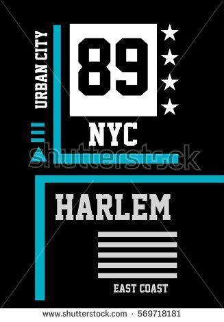 poster banner new york harlem east coast t shirt print poster vector illustration