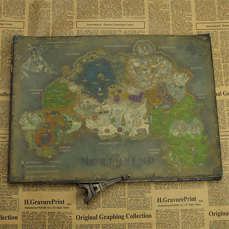 world of warcraft map luxury vintage retro anime poster wow map poster wall picture for living