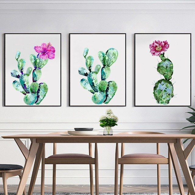 Poster Tumbuhan Bermanfaat Cat Air Kaktus Kanvas Seni Cetak Poster Tropis Hijau Tanaman Kaktus