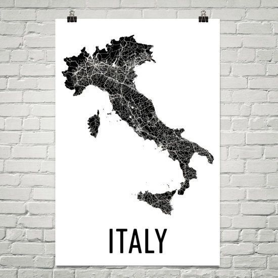 italian themed wall art beautiful italy map map of italy italy wall art italy print italy