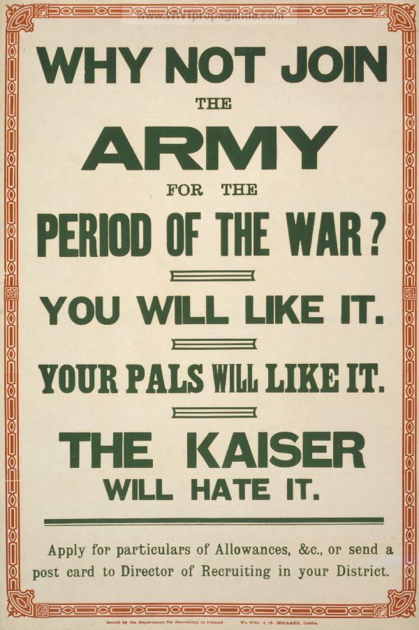 world war i recruitment poster ireland date unknown propagandaposters