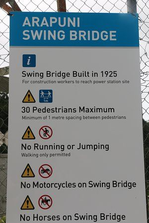 arapuni swing bridge sign at the bridge