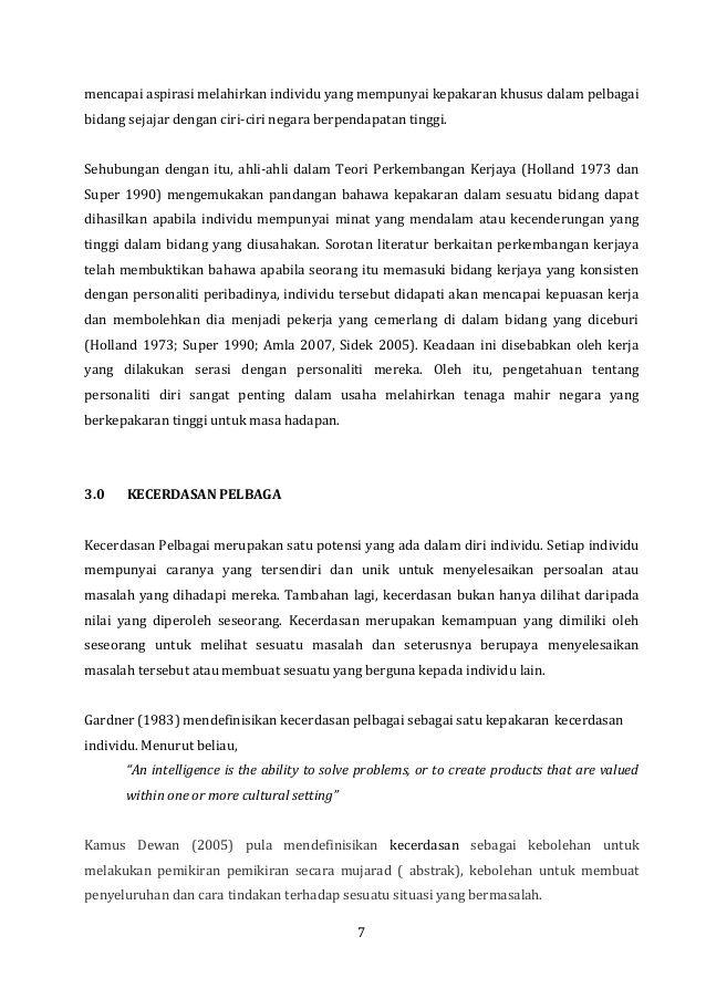 Teka Silang Kata Kecergasan Bernilai Manual Psikometrik Ting 3