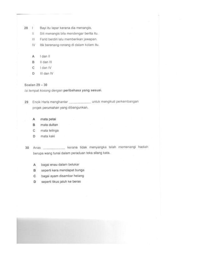 teka silang kata peribahasa dan jawapan bernilai kertas soalan percubaan upsr 2012 bahasa melayu pemahaman of