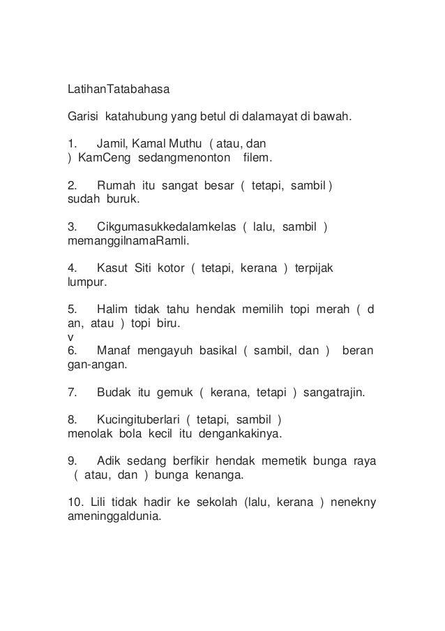 Teka Silang Kata Tatabahasa Meletup Bahasa Melayu Tingkatan 2 Kata Hubung