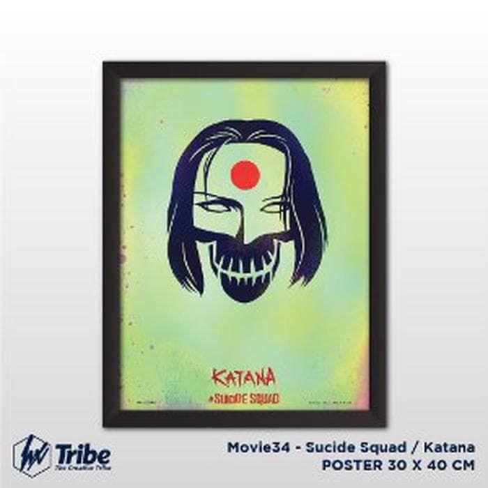 jual poster sucide squad katana 30 x 40 cm a3 frame tanpa kaca