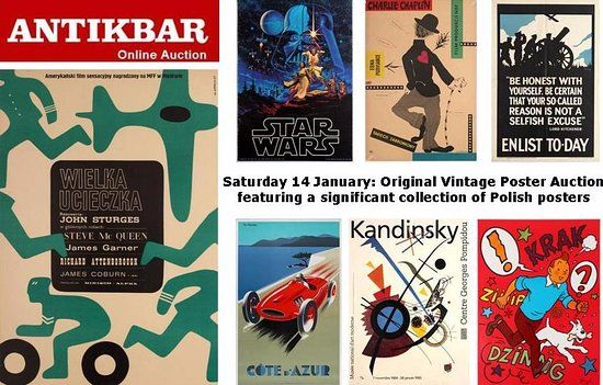 Vintage Poster Menarik Antikbar original Vintage Poster Auction 14 January 2017 Picture