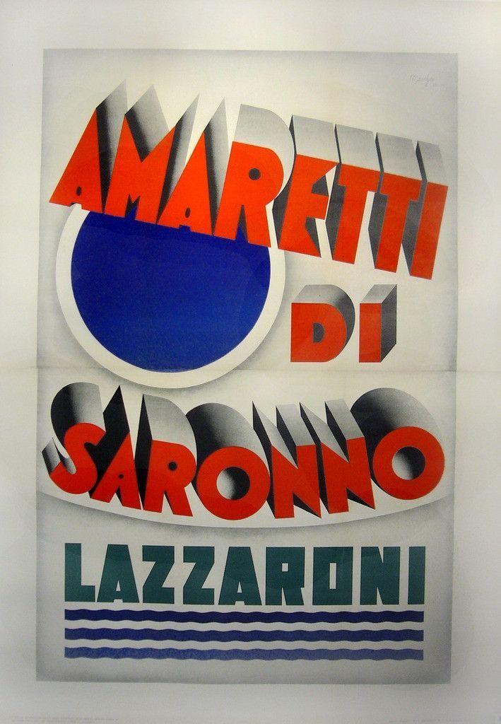 Art Deco Poster Meletup 1932 original Italian Art Deco Poster Amaretti Di Saronno