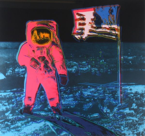 Art Deco Poster Penting Moonwalk A Giant Step for Warhol at Gray S Contemporary Auction