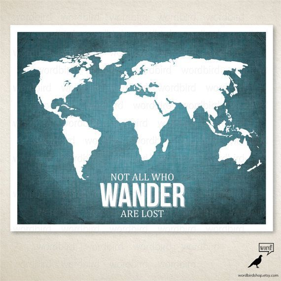 motivational wall decor world map poster lord of the rings movie gandalf quote not all who wander are lost