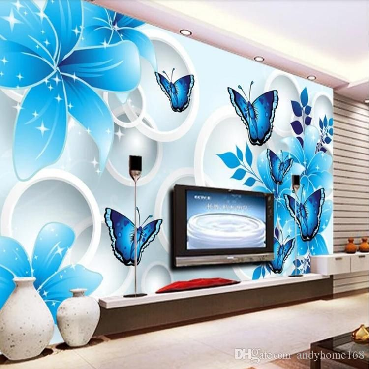 simple wallpaper 3d mural tv background wall mural living room wall covering blue lily custom wallpaper sofa background wall muraleuropean wallpaper
