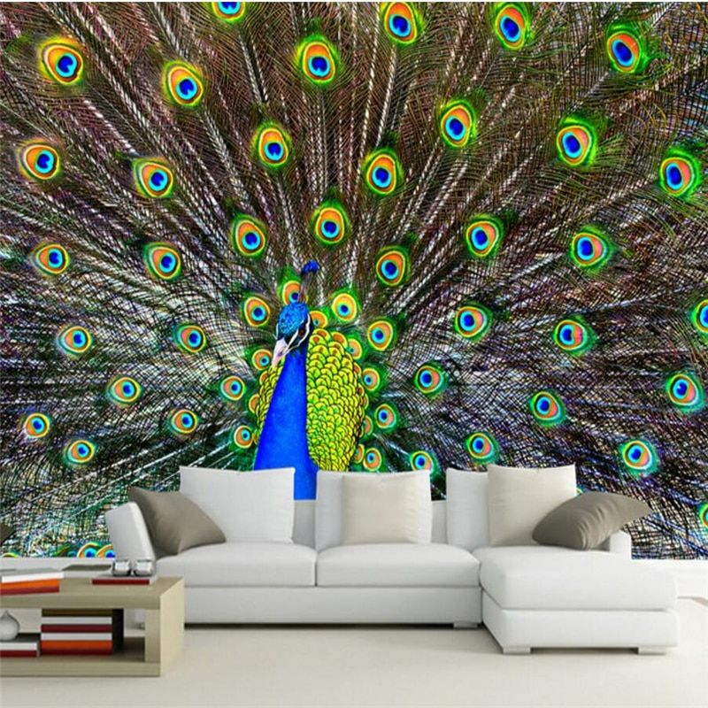 beibehang hd peacock open screen photo tv office background wall painting 3d wallpaper home decorative wallpaper for walls 3 d