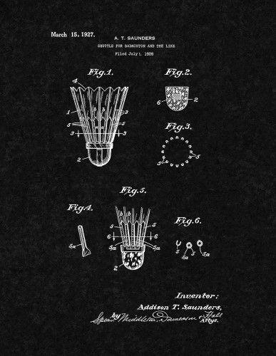 Badminton Poster Meletup Shuttle for Badminton Patent Print Art Poster Black 13 X 19