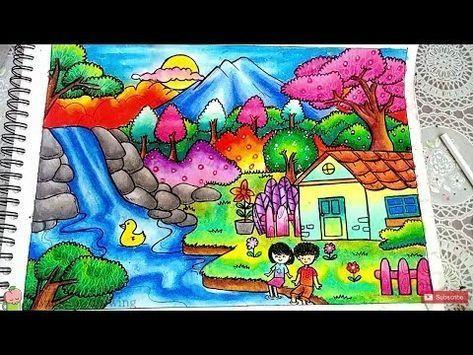 cara menggambar dan mewarnai pemandangan air terjun dan rumah dengan gradasi warna oil pastel youtube