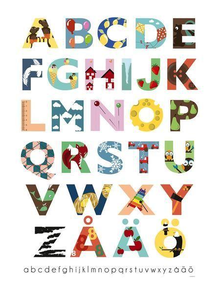 poster med ett illustrerat alfabet for att enklare