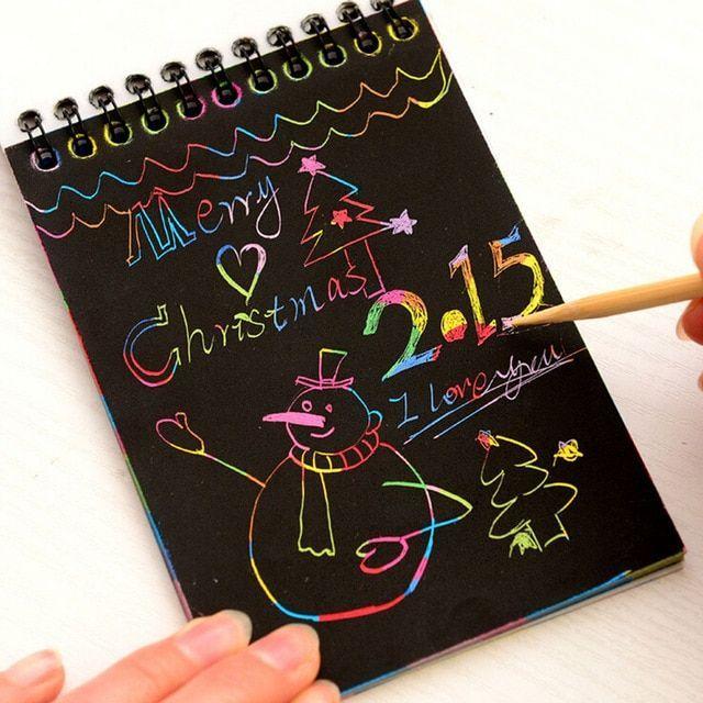 sihir warna warni menggores kertas gambar papan lukisan anak anak belajar awal mainan pendidikan mainan