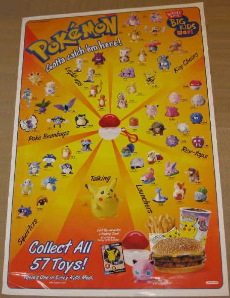 Burger Poster Hebat 1999 Burger King Promotional Pokemon toys Bulbapedia the