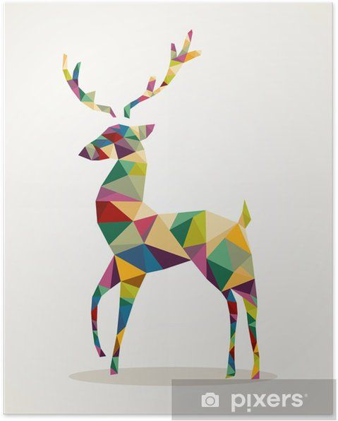 Christmas Poster Hebat Merry Christmas Trendy Abstract Reindeer Eps10 File Poster Pixers