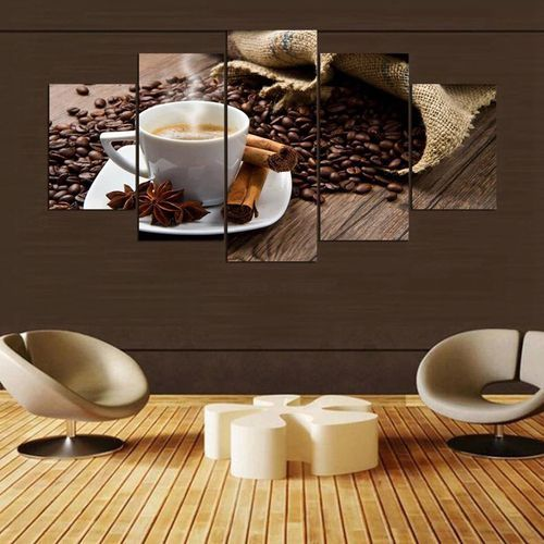 vova modular canvas printed 5 pieces coffee artistic poster decor coffee beans pictures unframed