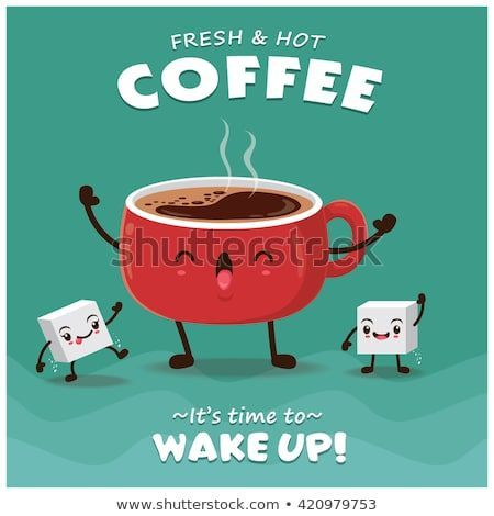 Coffee Poster Menarik Vintage Coffee Poster Design with Vector Coffee Character Ideas