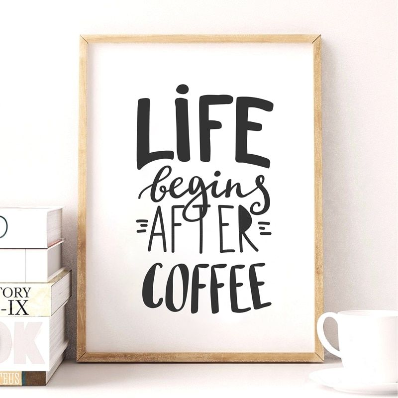 Coffee Poster Terbaik Coffee Quote Canvas Art Print Poster Simple Style Wall Pictures for