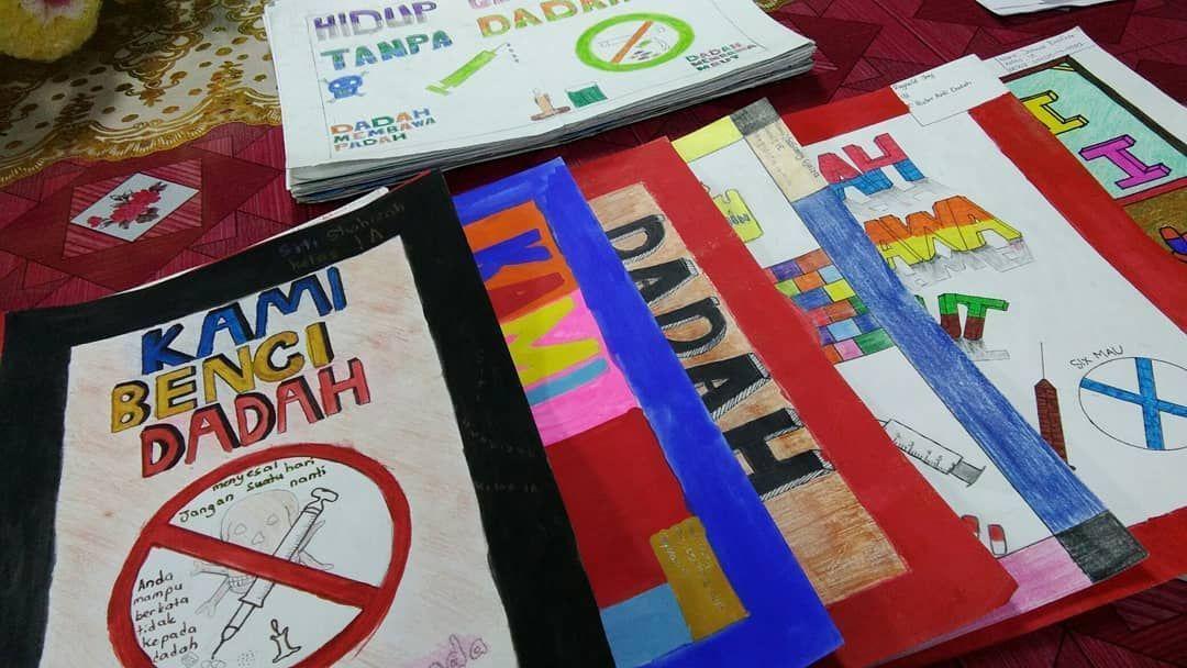sesi pemilihan poster anti dadah 5 pelajar terbaik d saya pilih 10 poster terbaik dan final