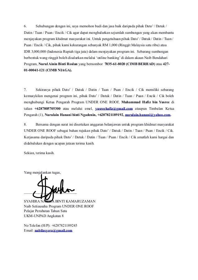 contoh surat memohon sumbangan program flea