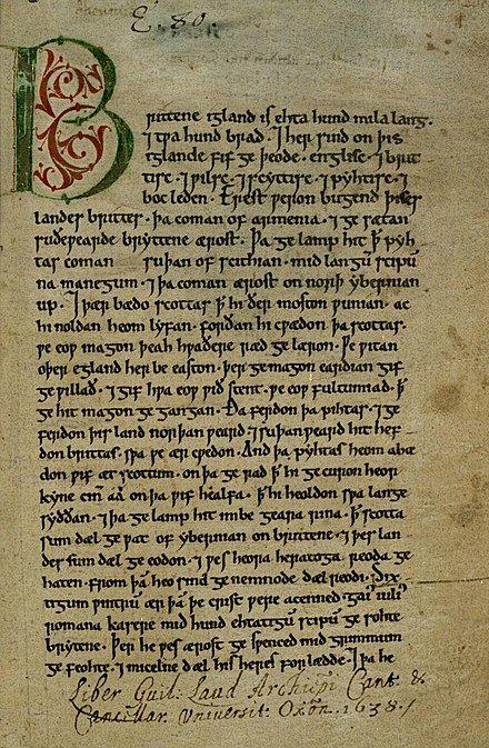 halaman utama kronik peterborough kemungkinan disalin pada tahun 1150 adalah salah satu sumber utama