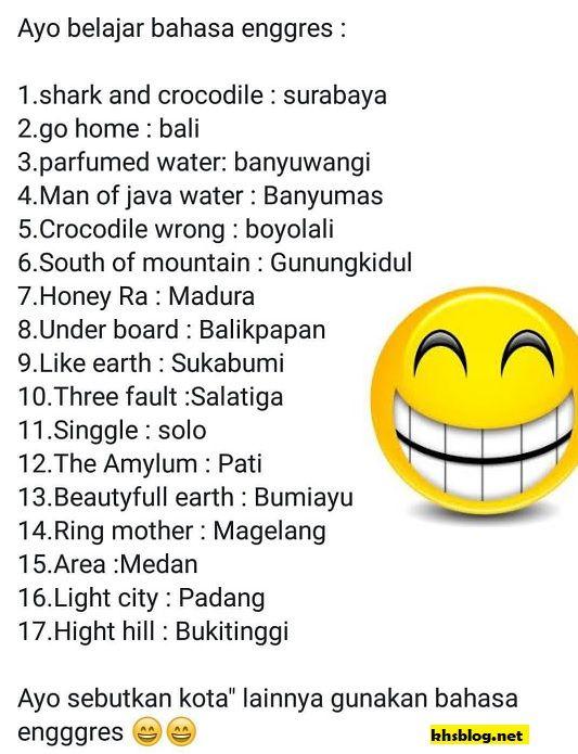 daftar nama kota atau daerah di indonesia dalam bahasa inggris hehehe