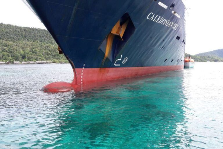 kapal pesiar mv caledonian sky peroleh izin berlayar dari syahbandar jayapura mongabay co id
