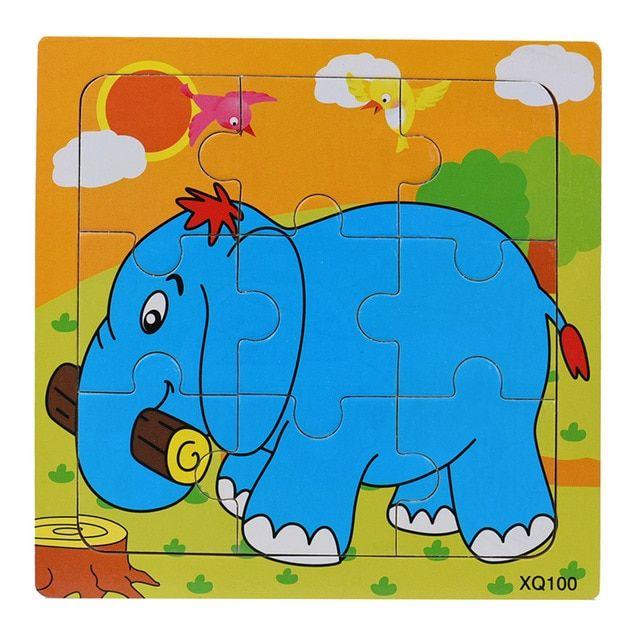 biru gajah 15 cm anak tangan menggenggam papan puzzle kartun kayu tiga dimensi puzzle mainan dengan