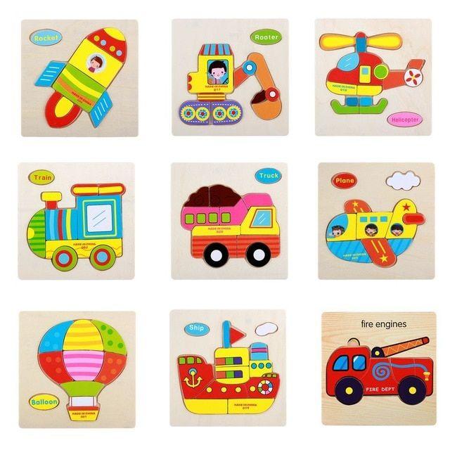 transportasi kartun kayu teka teki mainan untuk anak roket kereta balon kapal truk pesawat pemadam