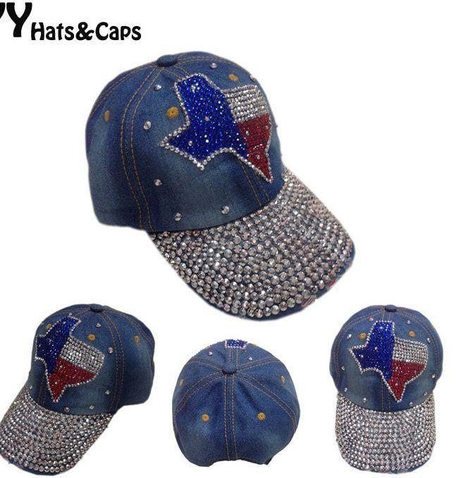 atas desain baru topi baseball adjustable busana rekreasi rhinestones jean snapback topi topi bola untuk wanita