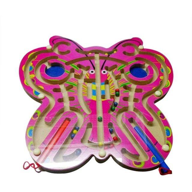 anak kayu melingkar magnet jalur puzzle mainan kreatif kupu kupu labirin teka teki permainan